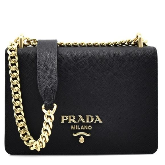 Prada Handbags - PRADA Saffiano Soft Chain Shoulder Bag Black